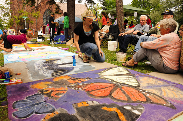 Sidewalk chalk art festival two harbors travel lake superior for Furniture zone sidewalk